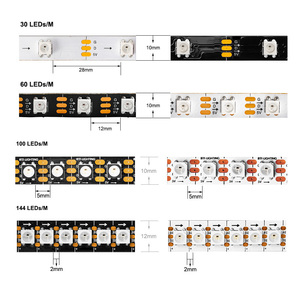Image 2 - Bande lumineuse RGB Led, ruban déclairage WS2812B, 1m/2m/5m, 30/60/100/144 diodes/m, adressable individuellement, noir/blanc, WS2812ECO IC DC5V