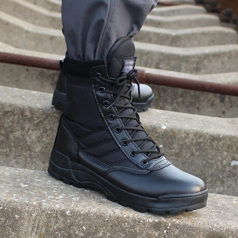 Army Boot <font><b>Men</b></font> Desert Tactical Military Boots <font><b>Mens</b></font> Work Safty <font><b>Shoes</b></font> Zapatos De Mujer Zapatos Ankle Lace-up Combat Boots Size 46 image
