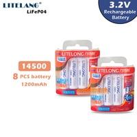 8PCS AA 1200mah 14500 3.2v lifepo4 Batteria Ricaricabile Nuovo di Alta Capacità LITELONG