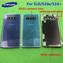 Tylna szyba zamiennik dla Samsung Galaxy S10 G973F S10 + G975F S10E G970 pokrywa baterii obudowa na tył telefonu Case + wodoodporna sticke