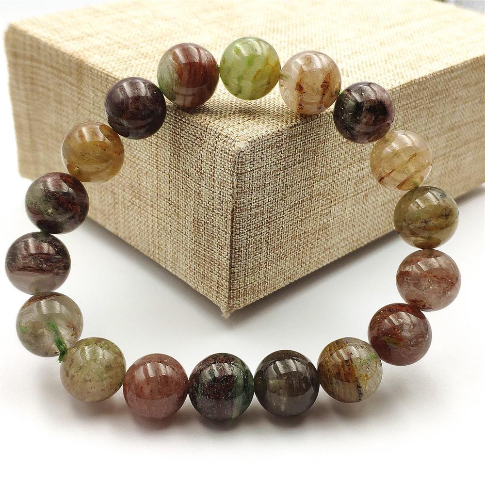 Genuine Natural Colorful Phantom Quartz Bracelet Gemstone 11mm Party Gift Stretch Jewelry For Women Men Crystal Bracelets