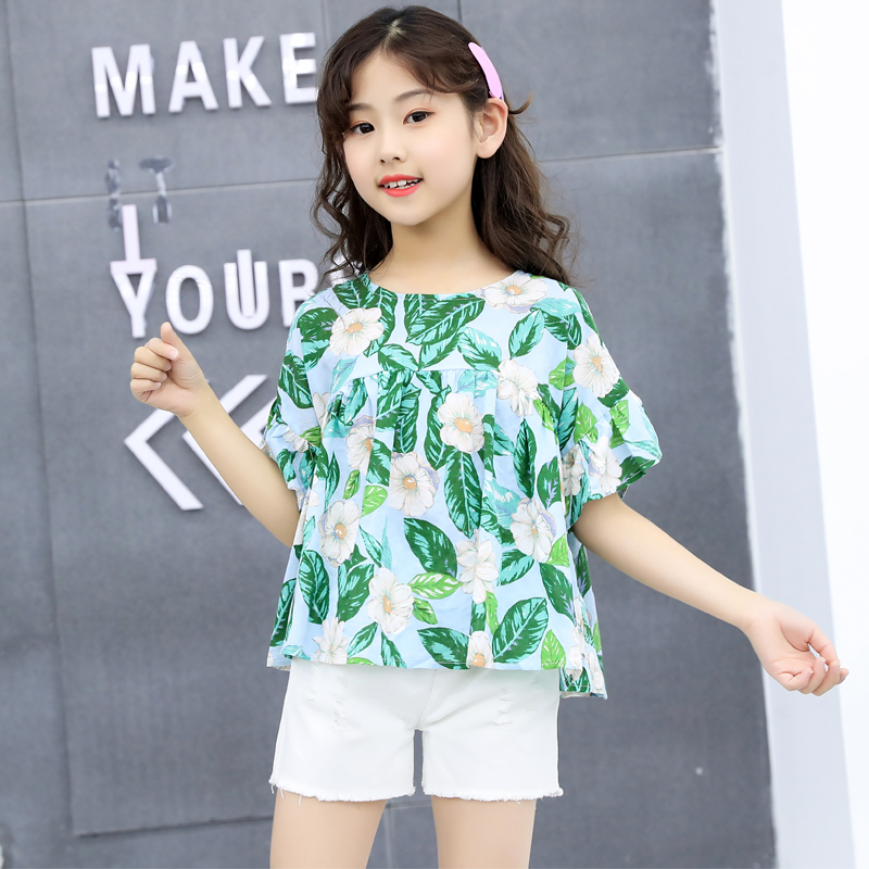 2 Piece Holiday Summer Outfit Kids Girls Green Floral And White Shorts Set 2Pcs Ruffled Outfits Tops Sweet Girl Clothing Set