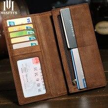 MISFITS crazy horse billetera de cuero genuino para hombre, billetera larga vintage con bolsillo con cremallera, bolso masculino de cuero suave, tarjetero