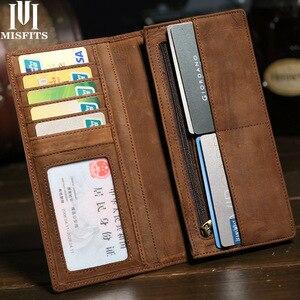 Image 1 - MISFITS crazy horse 정품 가죽 남성용 지갑 지퍼 포켓이있는 빈티지 롱 지갑 브랜드 soft cowhide male purse card holder