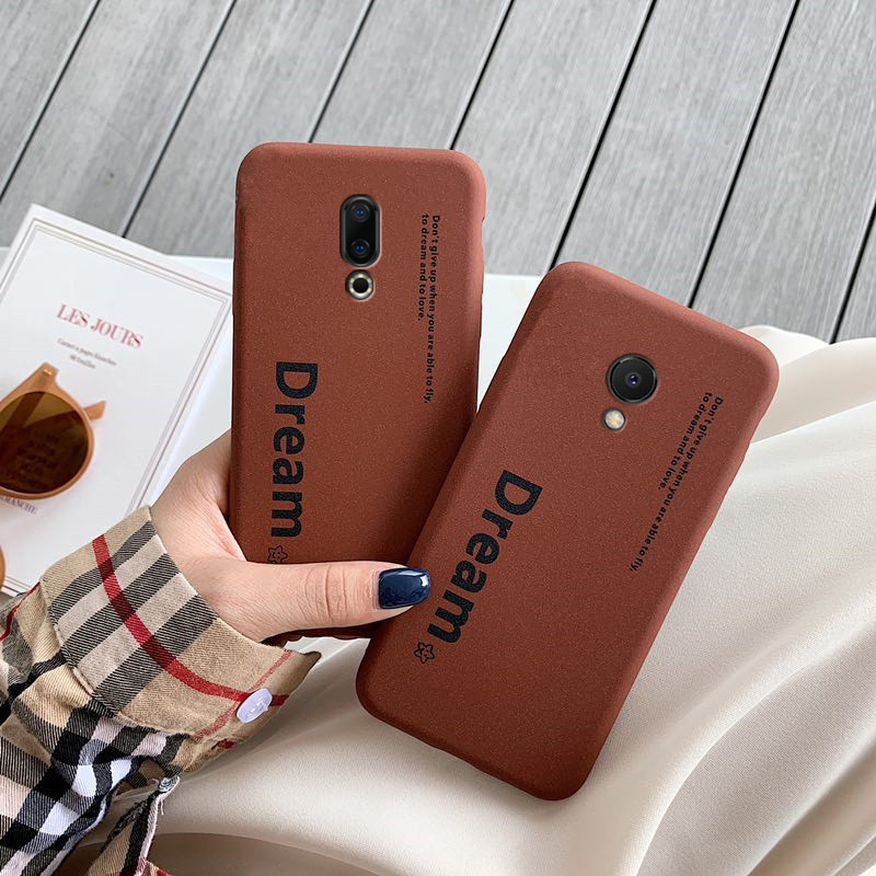 Grit Matte Letter Case On For Meizu 16 16x 16th Plus M6s Mx Mx6 Mx5 E3 E2 M3e M6 M5 M3 Note M5s Brown Retro Word Back Cover Capa
