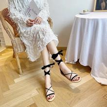Damskie letnie wakacje plażowe rzymskie sandały gladiatorki damskie kostki pasek krzyżowy mieszkania modne obuwie na platformie wino Retro czerwone tanie tanio LEOSOXS SYNTETYCZNE CN (pochodzenie) Niska (1 cm-3 cm) Na co dzień podstawowe Płaskie z Otwarta Sznurowane Dobrze pasuje do rozmiaru wybierz swój normalny rozmiar