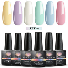 MEET ACROSS 6Pcs Nail Gel Set Semi-permanent Soak Off Art Polish Kit Pure Color UV Varnish Manicure