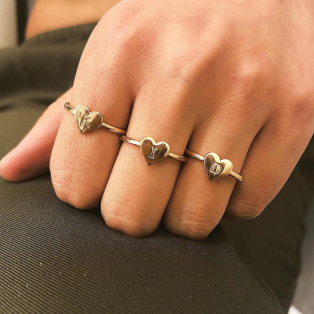 Изысканный 26 букв в виде сердца, для влюбленных Кольцо Красивая A-Z персонализированные ручной штампованные Начальная крошечные название Золотого кольца Для женщин Подарки для девочек