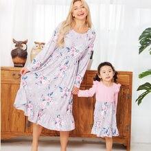 Robe assortie à fleurs pour mère et fille, longue, rose, pour bébé