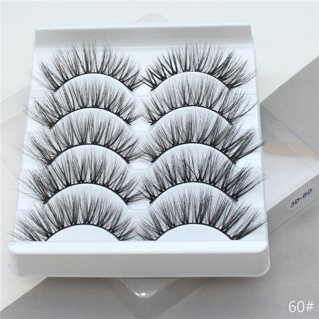 5Pairs 3D Mink Hair False Eyelashes Extension Natural Thick Long Fake Eye Lashes Wispy Women Makeup Beauty Tools 2
