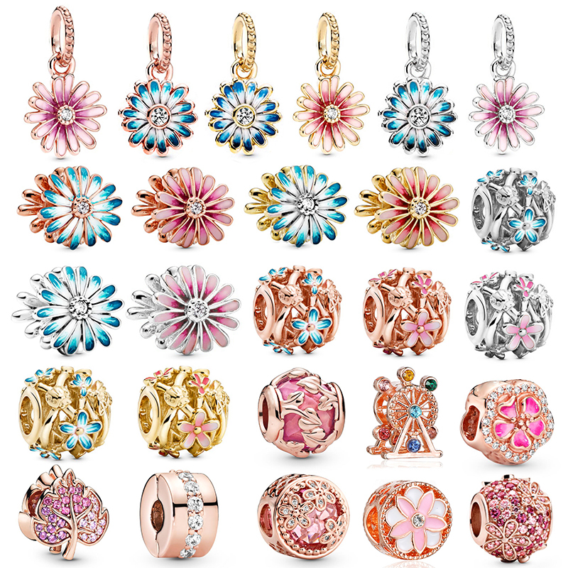 BAOPON 2Pcs/Lot Special Offer Blue/Pink Daisy Charm Beads Pendant Fit Pandora Bracelets & Necklace For Women Jewelry Accessories(China)
