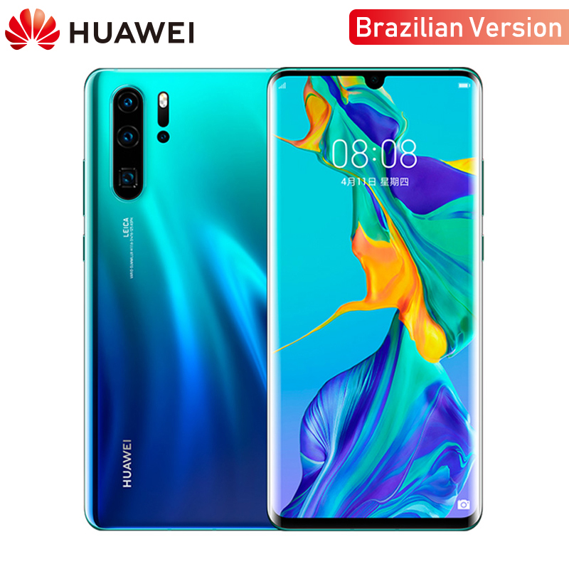 Smartphone d'origine Huawei P30 Pro 8GB RAM 256GB ROM 6.47 pouces 4G GSM Android 9.0 téléphone portable 40MP + 32MP Leica quatre caméra