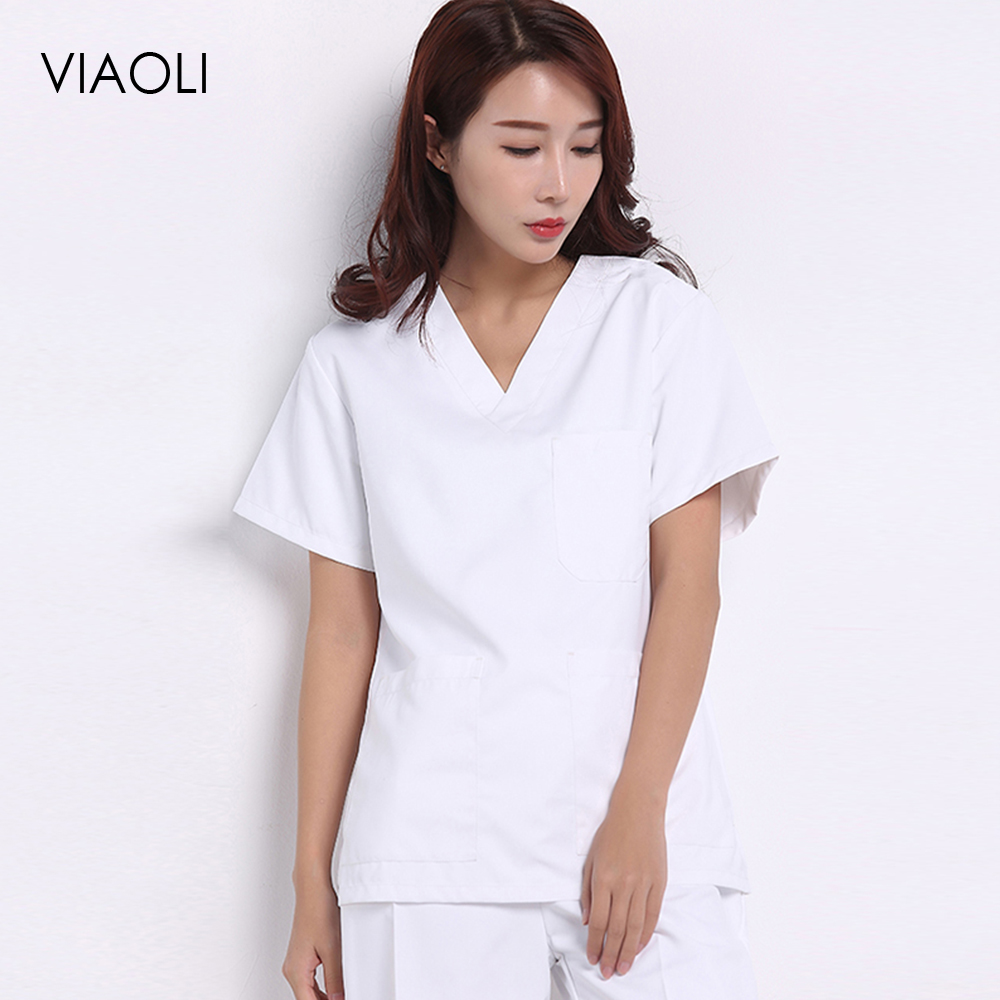 Viaoli Cotton Medical Clothing Surgery Cloths Medical Scrubs Dental Nursing Uniform Surgical Gown Shirts For Women Men Just Top