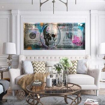 Lienzo de calaveras con billete de dólar grande, pintura de Graffiti, cuadro artístico impreso sobre lienzo, póster de pared, imagen para sala de estar, oficina, decoración del hogar