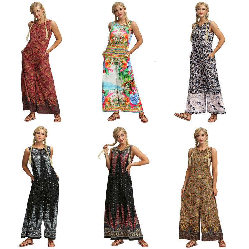 Summer Women Sleeveless Jumpsuits Fashion Bohemian Style Outfit Boho Floral Print Romper Femme Wide Leg Loose Long Pants Trouser