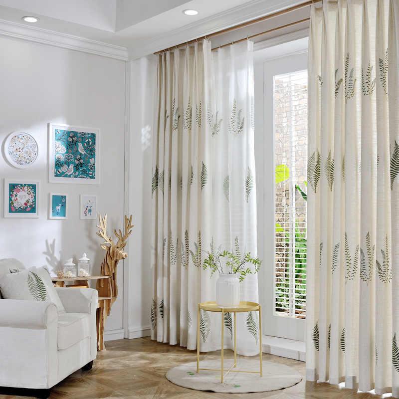 Bordado pastoral sul-coreano é cortinas verdes para sala de jantar quarto.