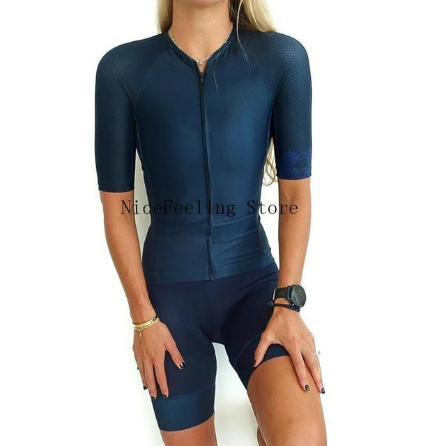 Roupa de ciclismo feminina manga curta, equipamento de equipe corporal sexy de tri skinsuit, roupas de ciclismo personalizadas, triathlon, 2019 6