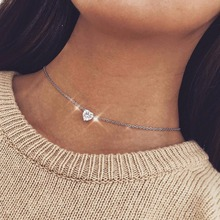 Crystal Heart Necklace Pendants For Women Short Gold Necklace Chain Pendant Necklace Crystal Heart Choker Necklace Chocker Neck noble faux crystal triangle choker necklace for women