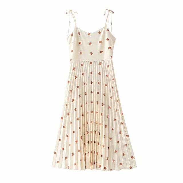 Vintage women elegant polka dots long dress 2020 summer fahsion ladies soft chiffon dresses boho female pleated dress girls chic 3