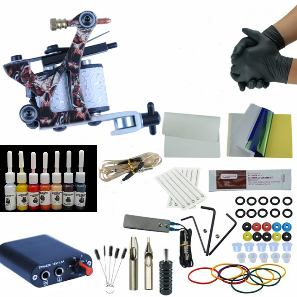 Complete 1 Tattoo Machine Gun 6 Colors Pigment Inks Sets Power Supply Set Starter Tattoo Kits  Body Art Tools Sets