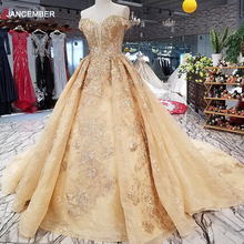 LS65740 hoa vàng đẹp Đầm Nhanh Vận chuyển từ Trung Quốc ngoài khơi vai người yêu phối ren lưng chữ A giá rẻ dạ hội