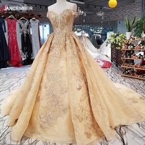 Image 1 - Ls65740 황금 꽃 아름 다운 드레스 중국에서 빠른 배송 어깨 아가씨 레이스 위로 a 라인 저렴 한 이브닝 드레스