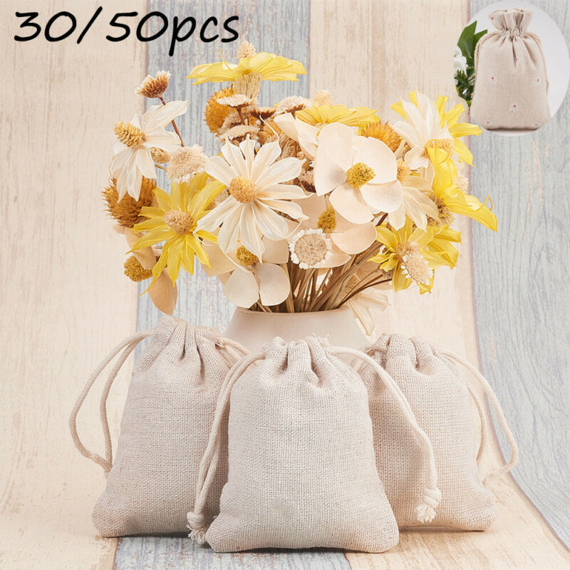 50pc Girl Mini White Jewelry Bag Cotton Linen Flower Embroidery Plain Canvas Drawstring Bags Xmas Sack Storage Bundle Pocket