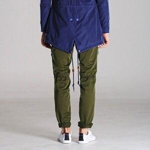 Image 3 - アーミーグリーン男性のミリタリーパンツスリムフィットワークカーゴパンツ戦術的なカジュアルなストレート長ズボンカーゴパンツ男性とポケット