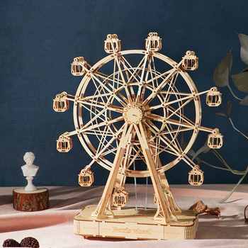 Wooden Toy 232pcs Rotatable DIY 3D Ferris Wheel Wooden Puzzle Game Assembly Music Box Toy Gift For Children Teens Adult TGN01 3d dragon woodcraft construction kit diy dragon wooden puzzle game assembly toy gift for children adult children