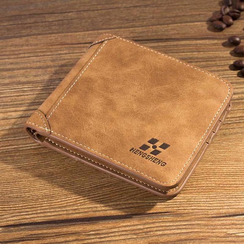 Vintage Men Wallet Leather ID Credit Card Holder Coin Purse Luxury Brand Wallet Frosted Short Wallets Coin Pocket Retro Portfel