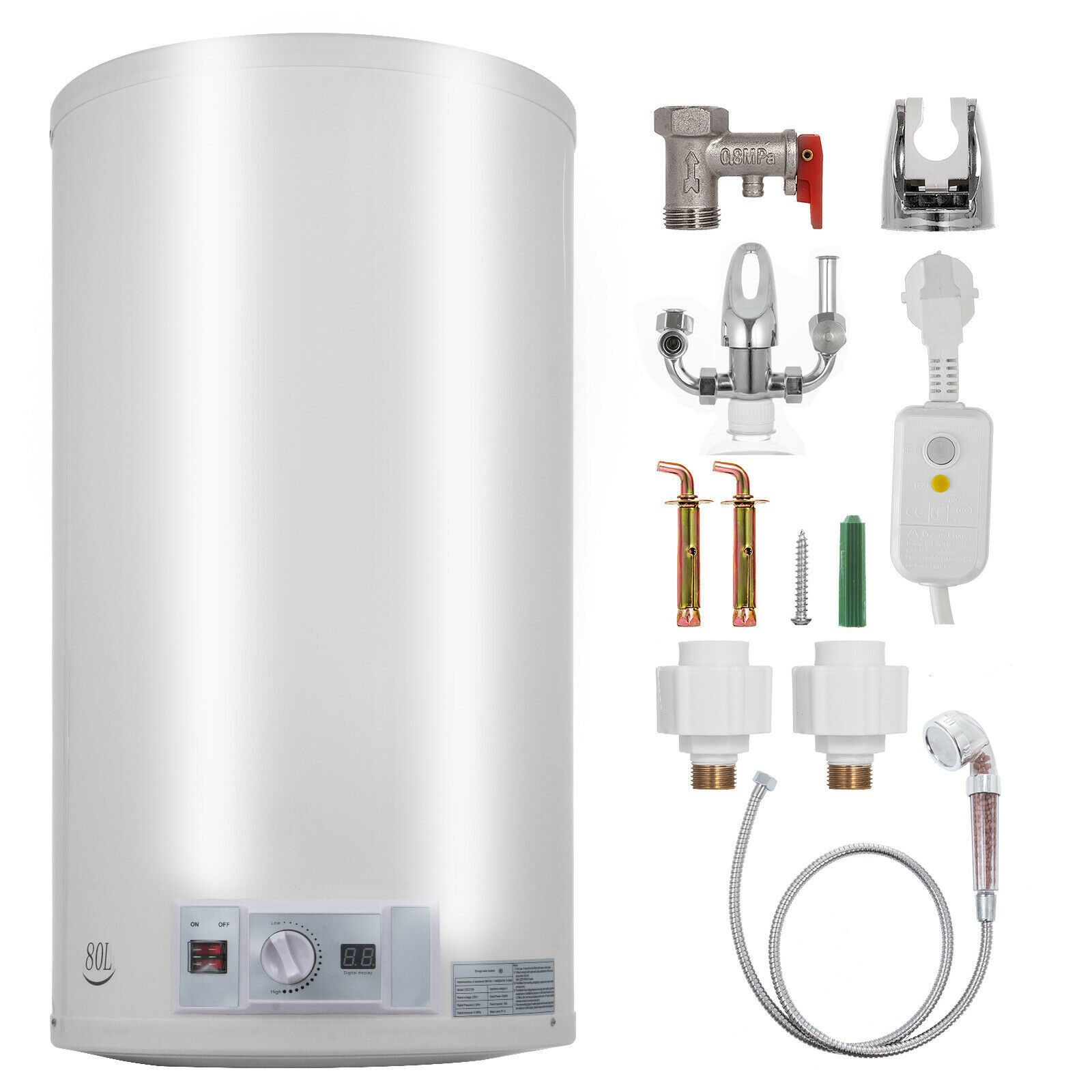 Electric Hot Water Heater >> Us 97 41 8 Off Vevor 80l Electric Hot Water Heater Boiler Storage Tank W Shower Head Vertically In Electric Water Heater Parts From Home Appliances
