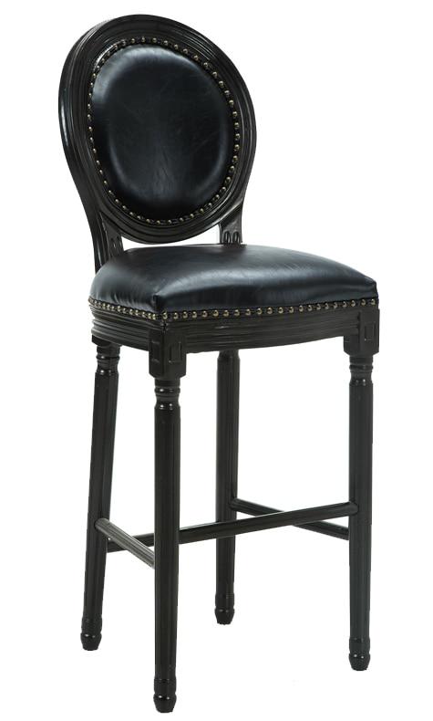 American Solid Wood Bar Chair European Style Bar Chair Retro High Stool Backrest Front Desk Bar Chair High Stool