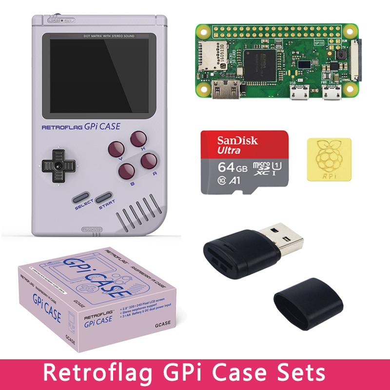 Original Retroflag GPi Case Option 32GB 64GB SD Card | Reader | Heat Sink Compatible With Raspberry Pi Zero W With Cartridge