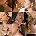 Женские серьги-подвески с большими бабочками, золотистые металлические серьги с цветами и листьями, геометрические круглые современные ук...