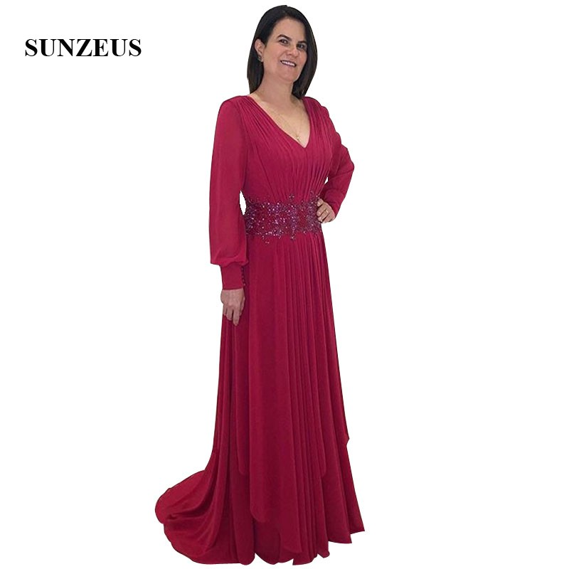 2019 Fall Long Sleeves Mother Of The Bride Dresses A-line V-neck Red Chiffon Women Party Gowns Elegant Formal Dress Evening Lady