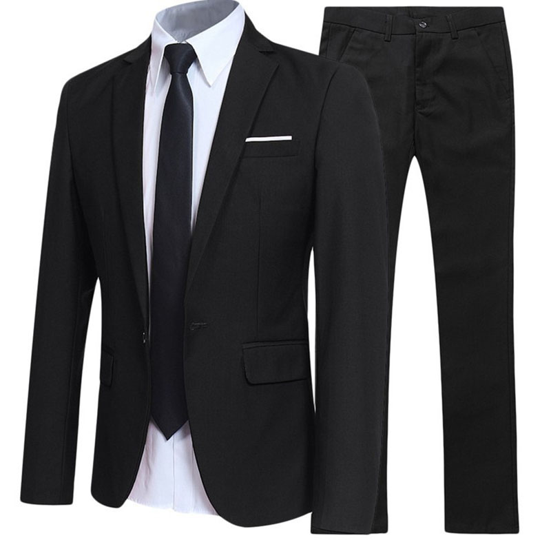 Male Suits Outfit Blazer British Gentleman Solid Color Spring Autumn Casual Men Suits Set Wedding Clothing Business Suit For Man