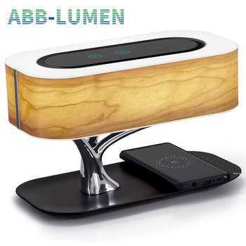 Modern led table lamp for bedroom dimmable bluetooth Speaker phone Charger 1
