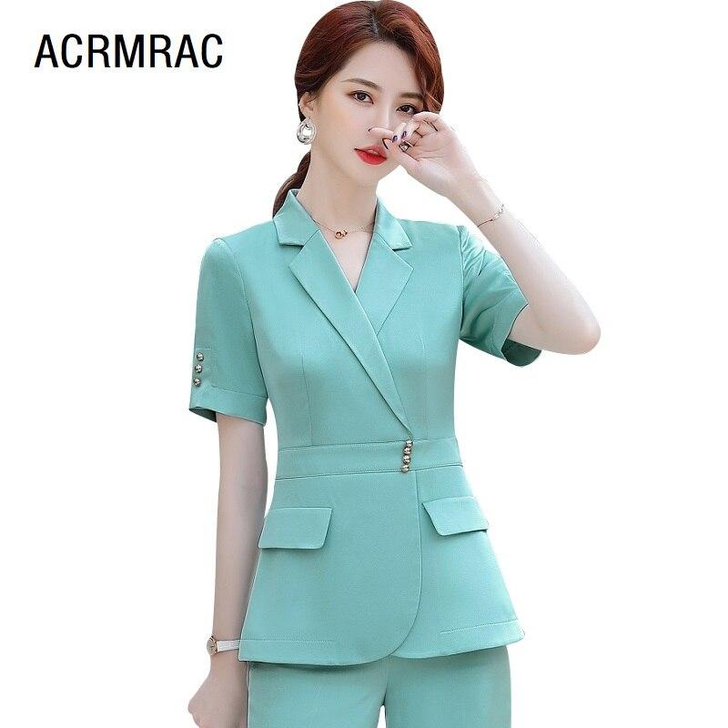 Women Suits Slim Summer Short Sleeve Blazers Pants Office Lady Formal Work Clothes Women Pants Suits Woman Set Suits 2025