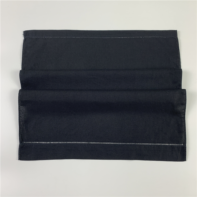 Set Of 12 Fashion Black Linen Guest Towels Hand Towel With Embroidered Hemstitched Handkerchiefs Towel Tea Towels14x22-inch