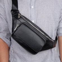 Men Waist Pack Bags Genuine Leather Black 2019 New Man Casual Travel  Waist Bag Male