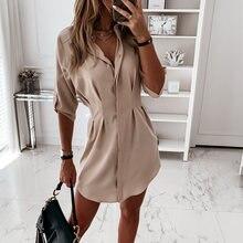 Платье рубашка женское однотонное с длинным рукавом и высокой