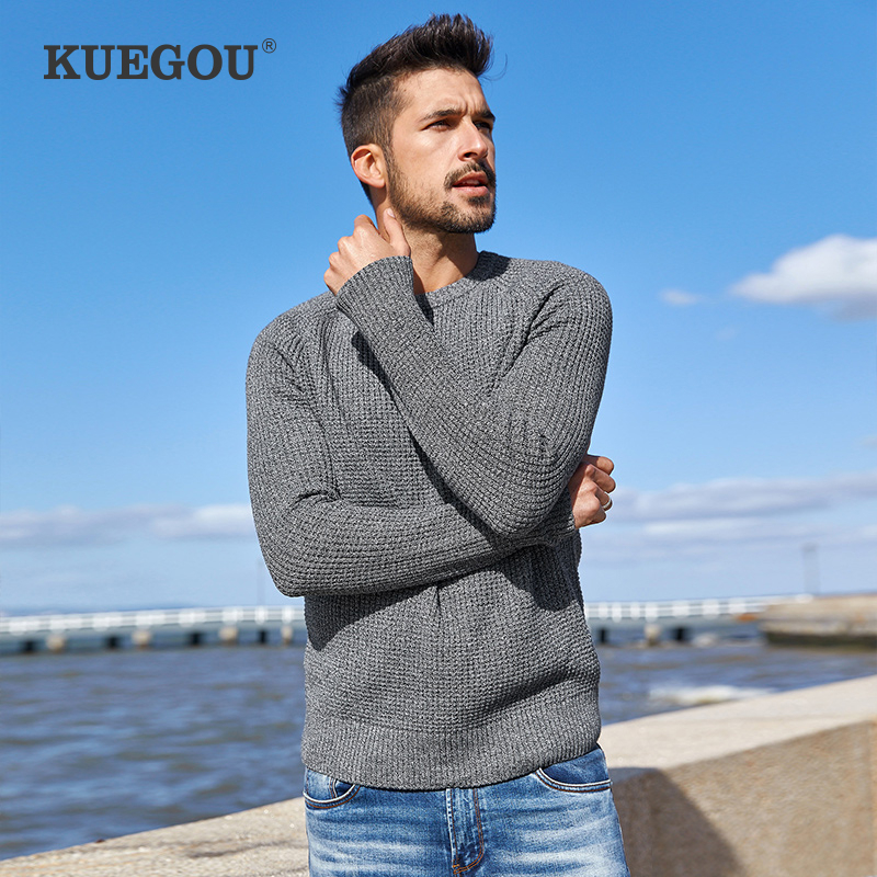 KUEGOU 2020 Autumn 100% Cotton Plain Gray Sweater Men Pullover Casual Jumper For Male Wear Brand Knitted Plus Size Clothes 14012