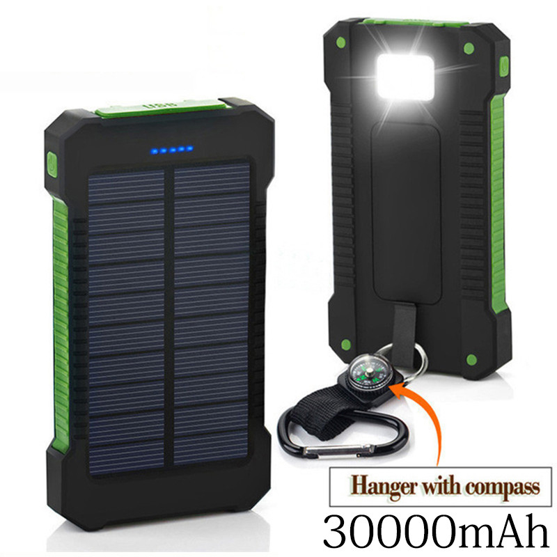 <font><b>Solar</b></font> <font><b>Power</b></font> <font><b>Bank</b></font> <font><b>30000mah</b></font> <font><b>Solar</b></font> Charger External Battery Charger <font><b>Waterproof</b></font> <font><b>Solar</b></font> Powerbank For Smartphone With Led Light image