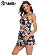 Swimsuit Maternity-Swimwear Beach Plus-Size Pregnant Tankinis-Set Floral-Print Women