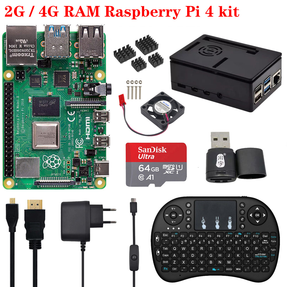 Original 2GB / 4GB Raspberry Pi 4 Model B Board With ABS Case 2.4G Wireless Keyboard Power Supply Adapter Aluminum Heat Sink