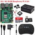 Originele 2 Gb/4 Gb Raspberry Pi 4 Model B Board Met Abs Case 2.4G Draadloze Toetsenbord Power supply Adapter Aluminium Koellichaam