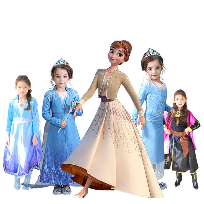 Kids Elsa Dress Girls Cosplay Party Elza Dresses Snow Queen Anna Elsa Costumes for Girls Clothing Elsa Set with Crown Vestiods