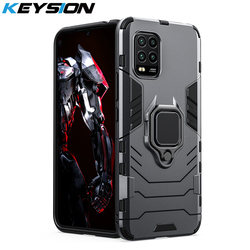 KEYSION Shockproof Armor Case for Xiaomi Mi 10 Lite 10 Youth 10 Pro 5G Ring Stand Phone Back Cover for Mi Note 10 Lite 10 Pro