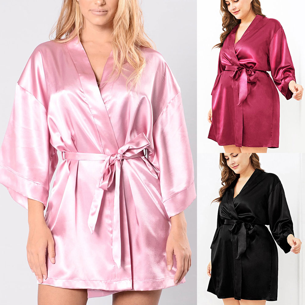 Plus Size Silk Women Sleep Wear Bathrobe Nightgown Black Long Sleeve Sash Female Sleepwear Bathgown Large Lady Home Night Dress