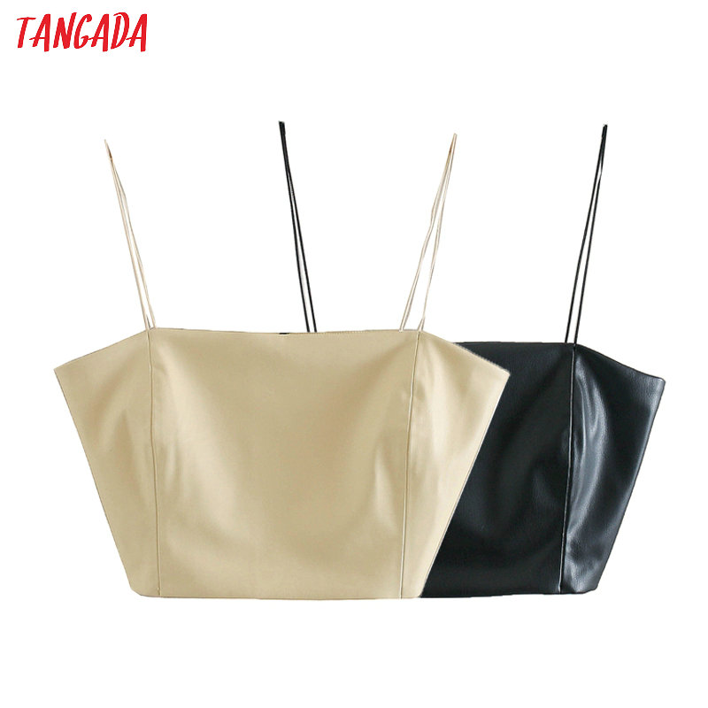 Tangada Women Faux Leather Beige Black Tops Sexy Tanks Side Zipper Strappy Backless Short Tops 2020 Camis 3L04